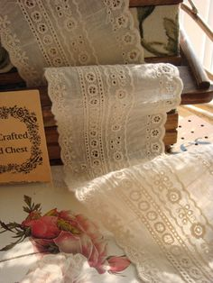 recorte de tela de encaje de algodón encaje crudo por lacetime