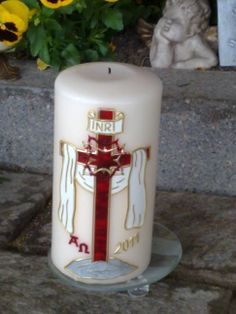 Trauerkerze Catholic Lent, Baptism Candle, Candle Accessories, Candle Making, Communion, Altar, Pillar Candles, Diy And Crafts, How To Make
