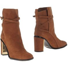 Schutz Ankle Boots ($185) ❤ liked on Polyvore featuring shoes, boots, ankle booties, brown, brown leather booties, short leather boots, leather ankle boots, buckle ankle boots and buckle booties