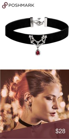 """Ethereal Chandelier Choker Necklace Chokers have gone from Fun Trend to Style Essential! This Velvet Style elevates the feel for Holiday + Party dressing. Plus a Touch of Silver and a Garnet Drop adds extra savoir-faire! • antique rhodium-plated • nickel-free plating • 12.5"""" approx. length + 3"""" extender • lobster clasp • garnet resin, clear crystal, black velvet Chloe + Isabel Jewelry Necklaces"""