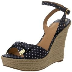 $64.54-$140.00 Ivanka Trump Women's Saffire2 Wedge Sandal,Navy Blue Polka Dot,9 M US - Look and feel like a diamond in the rough in the Saffire 2 wedge sandals from Ivanka Trump.Textile upper in a casual platform wedge sandal style with a peep open toeBow accent on vampWraparound ankle strap with adjustable buckle closureLeather lining, cushioning footbed1 1/2 inch platform midsoleRubber traction  ...
