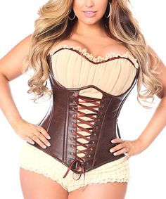 1b23ae59a1 Daisy Corsets Brown   Ivory Steel-Boned Top Drawer Corset - Plus Too