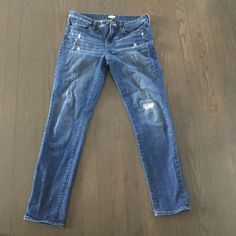 "J. Crew distressed jeans Inseam 29"" and waist 16"" across. In Perfect condition J. Crew Jeans"