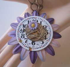 Steampunk Flower Necklace Purple Flowers Watch Movement Pocket Watch Dial Big And Chunky Woodland Steampunk on Etsy, $29.99