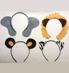 Circus theme animals ears headband birthday party favors supplies. Wedding photo booth props. Ideas: party invitation, decoration, hat, costume, dress up, pretend play. Fits babies, children, and adults. Elephant, lion, bear, zebra print. Animal ears by www.Partyears.etsy.com $12.50:
