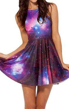 Purple Galaxy Printing Sleeveless Pleating Skater Dress
