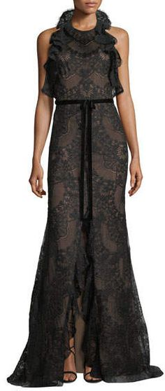 Marchesa Ruffled Lace Halter-Neck Gown