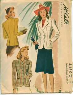 1941 Vintage Sewing Pattern - Fitted Jacket for the 1940's Career Woman - McCALL 4150 - Classic - UNCUT Retro Pattern. via she'll make you flip!