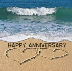Anniversary Gifts for Men, Leather Anniversary Gift for Man, Anniversary, Personalized Anniv Birthday / Wedding Anniversary Blank Greetings Card – Love Hearts on the Beach – Perfect for Husband Happy Anniversary Quotes, Anniversary Greetings, 3rd Anniversary Gifts, Marriage Anniversary, Anniversary Funny, Happy Wedding Anniversary Cards, Wedding Cards, Wedding Clip, Happy Birthday Images
