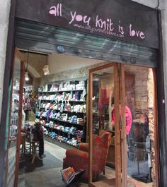 Pictures of Knitting Store - don't you love the name of this shoppe? Knitting Room, Knitting Humor, Loom Knitting, Knitting Stitches, Knitting Patterns Free, Wool Shop, Yarn Shop, Weaving Projects, Diy Craft Projects
