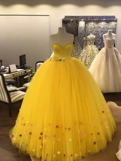 Princess Sweetheart Yellow Long Prom Dress with Tulle,Sexy#prom #dresses #promdress #homecomingdresses #partydresses #2018promdresses #cheapdress #longpromdress #formaldress #eveninggowns