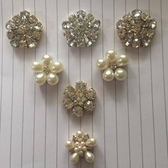 Pack of 10 * Vintage Pearl Diamante AB Flat Back Embellishments Rose Gold Silver