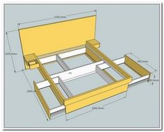 queen bed frame diy storage Why buy when you can build Here are plans for how to build a platform bed frame with storage Diy Beds I did not have any plans Bed Frame With Drawers, Platform Bed With Drawers, Bed Frame With Storage, Diy Bed Frame, Bed Frames, Queen Platform Bed Frame, Build A Platform Bed, Diy Bedframe With Storage, Bed Storage