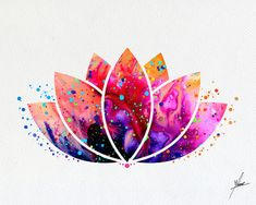 Lotus Flower Yoga symbole aquarelle Illustrations par PainterlyDots