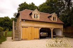 Bespoke oak framed garage with two open bays and one closed bay. Oak Framed Buildings, Timber Buildings, Garage Design, Door Design, House Design, Carport Designs, Carport Garage, Barn Garage, Garage Attic
