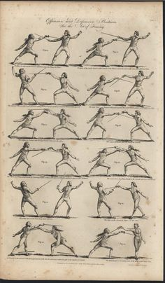 Offensive & Defensive Positions Art of Fencing 1789 antique engraved print Kendo, Libros Star Wars, Historical European Martial Arts, Academic Drawing, Fencing Sport, Fighting Poses, Engraving Printing, Sword Fight, Action Poses