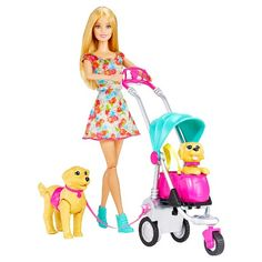 Stroll into pet play with this amazing set that includes all the items needed for Barbie doll to take her adorable puppies on a fabulous adventure! With her pink collar and doggie pack (both non-removable), Taffy dog is ready to go for miles- but her small puppy might get tired, so Barbie doll is prepared with a stroller designed with a surprise transformative feature. Girls can attach Barbie doll's hands to the stroller and push along. For added realism, the small puppy's head bobs u...