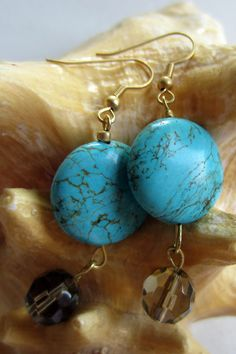 Turquoise and Gray Glass Bead Earrings by designsbypbe on Etsy, $10.00