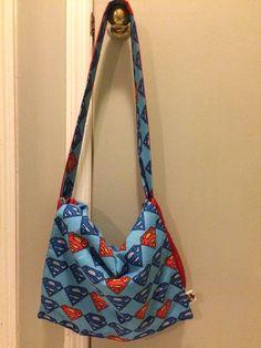 DC Comics Superman logo superhero messenger bag, padded and reversible