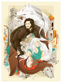 The Fire & Snow, by: revoltan. Basically, this work took two characters of the many characters in the story of Game of Thrones, because these two characters each have fundamentally different. Art Gallery, Illustration, Urban Art, Game Of Thrones Artwork, Artwork, Anime, Snow, Vector Art Illustration, Simple Illustration