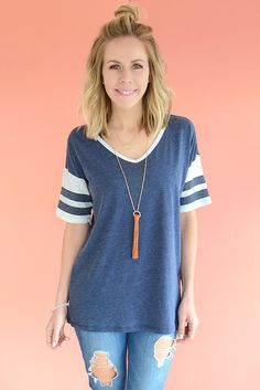 Z Supply The League Tee - Dress Blues from Page 6 Boutique Dress Blues, Blue Dresses, White Jean Shorts, Tee Dress, Blue Fabric, Hair Makeup, Hair Beauty, Short Sleeves, Tunic Tops