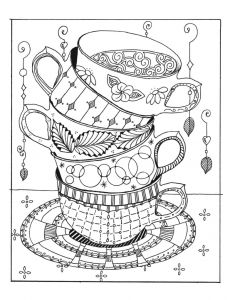 cups stacked coloring page