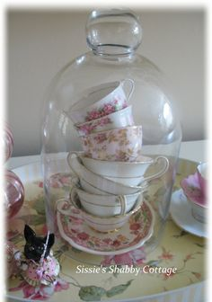 cloche with teacups
