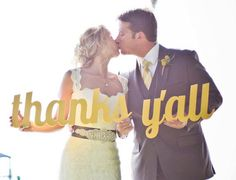 Thanks Yall Wedding Sign - Wooden Thank You Prop Signage Yellow or Custom Color