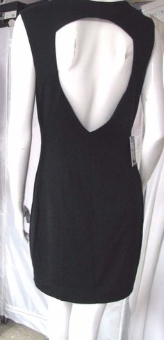 NWT EXPRESS Black Sleeveless V Neck Deep Cutout Back Sheath Stretch Dress 12 #Express #Sheath #Cocktail