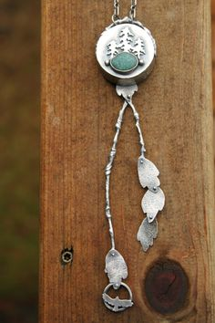 Land Tribute: A Mountain Narrative Necklace  (sterling silver and one small river pebble from the wilds of Northern California)  UmberDove