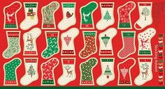 Traditional Metallic Christmas - Stocking Advent Calendar Panel