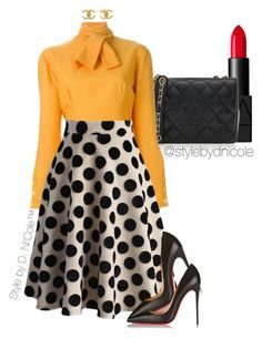 A fashion look from February 2016 featuring CÉLINE blouses, Chicwish skirts and Christian Louboutin pumps. Browse and shop related looks. Neue Outfits, Komplette Outfits, Classy Outfits, Fall Outfits, Fashion Outfits, Womens Fashion, Fashion Trends, Cheap Fashion, Ladies Fashion