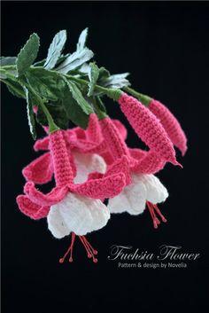 A Journey of my Crochet Life: Crochet Pattern: Fuchsia Flower Crochet Puff Flower, Crochet Flower Tutorial, Crochet Diy, Unique Crochet, Crochet Flower Patterns, Crochet Chart, Love Crochet, Irish Crochet, Crochet Flowers