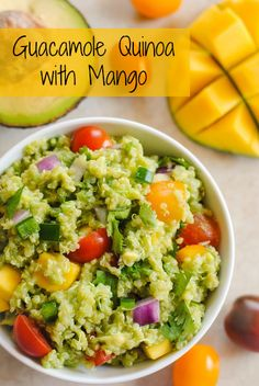 Guacamole Quinoa with Mango - all of the ingredients of guacamole, combined with quinoa and a little mango, for a tasty, healthy side dish! ...