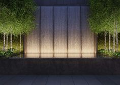 Find the Perfect Landscape Lighting Design for Your Backyard Landscape Walls, Landscape Lighting, Landscape Architecture, Landscape Design, Garden Design, Exterior Lighting, Outdoor Lighting, Water Wall Fountain, Modern Fountain