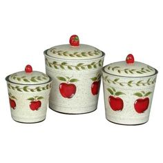 Country Apple Canister Set of 3.Opens in a new window