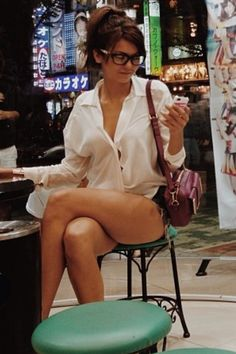 Nina Dobrev wearing short shorts, button down shirt, glasses on a tokyo set. wow. just. perfect. wow.  My dream girl. via Instagram.