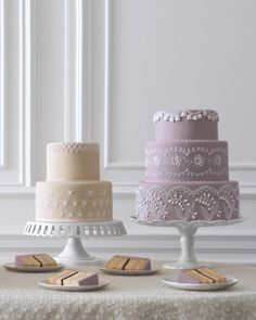 Elegant Purple Lilac Wedding Cake with intricate piping. \ Cake by wendykromer.com