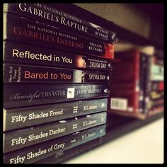 Smut addict.. Fifty Shades series by E.L. James , Beautiful Disaster by Jamie McGuire, Crossfire series by Sylvia Day, Gabriel's Inferno series by Sylvain Reynard. I cannot wait for the sequels!!