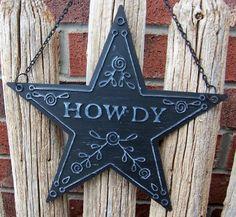 Howdy Texas Lone Star Sign - Blue - Texas Decor