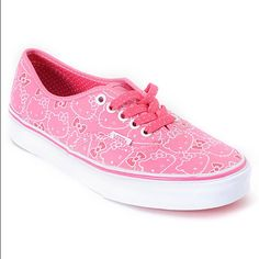 156b61c53 The Hello Kitty Authentic shoes from Vans Shoes have a classic skate shoe  style with a Vans vulcanized outsole. The all canvas upper features an  allover ...