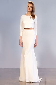 NADJA: 3/4 Sleeve Sequin Top With Center Back Zip; IMAN: High Waisted White Bias Cut Long Skirt In Gavin