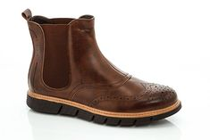 Adolfo Men's Haan Wing Tip Brown Leather Ankle Boots Size 10 Free Priority S&H!! #Adolfo #AnkleBoots