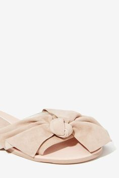Way Cute Mucho Bow Suede Slide Flats  //