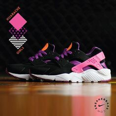 #nike #nikeair #huarache #nikeairhuarache #sneakerbaas #baasbovenbaas  Nike Air Huarache Gs- This Huarache is combining black, purple and pink, making it a real eyecatcher!  Now online available | Priced at 89.95 EU | Wmns Sizes 35.5- 38.5 EU