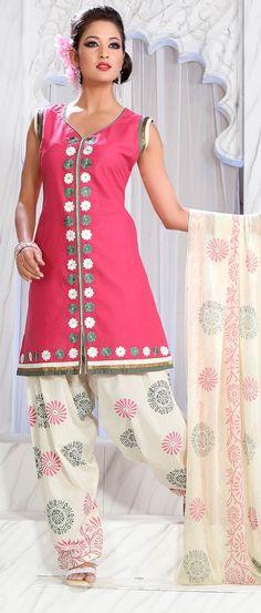 Pink Cotton Readymade Salwar Suit
