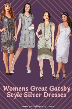 Click here to see all our stunning ladies 1920s Evening Wear, Cocktail & Formal Dresses. Perfect for all ages! Be classic go Roaring 20s Style Great Gatsby Outfits, Great Gatsby Fashion, Gatsby Dress Plus Size, Plus Size Dresses, 20s Style, Gatsby Style, Roaring 20s Fashion, Silver Dress, Costume Dress