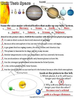 A test/quiz/worksheet covering the planets \u0026 physical properties movement\u2026