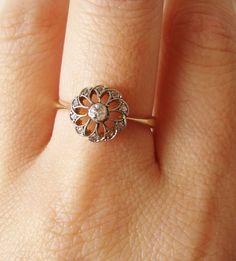 Antique Diamond Engagement Ring, Filigree 18k Gold Rose Cut Diamond Ring, Edwardian Wedding Ring Approximate Size US 6.75. $585.00, #HathawayTing #HathawayTing's Jewelry