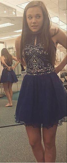 2016 homecoming dress, navy homecoming dress, short homecoming dress, chiffon homecoming dress party dress